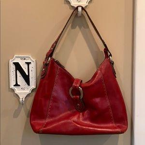 Red Fossil leather shoulder bag